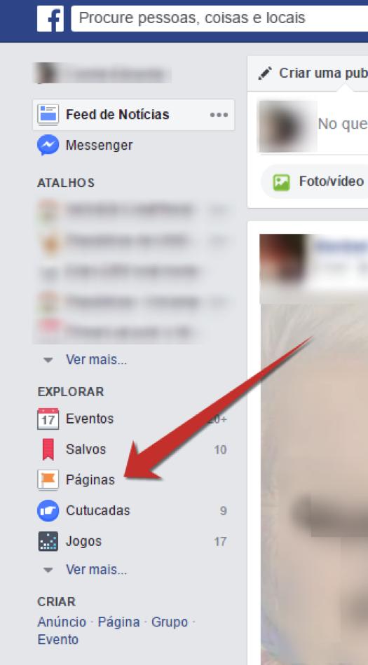 Criar página Facebook