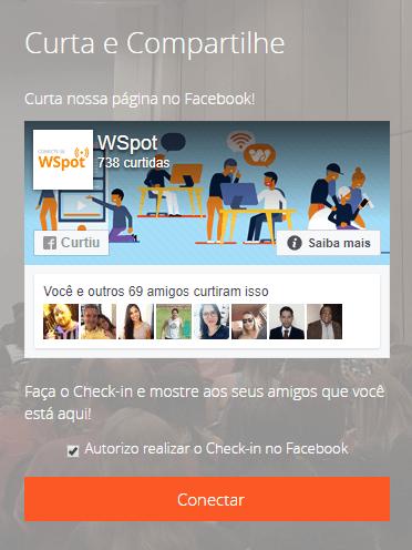 Wi-Fi com Check-in no Facebook